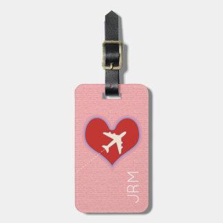 personalized feminine love airplane travel luggage tag