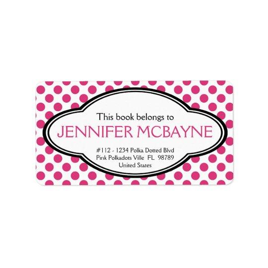 Personalized Feminine Pink Polkadots Bookplate