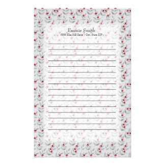Personalized Feminine Red Berries Gray Leaves Stationery