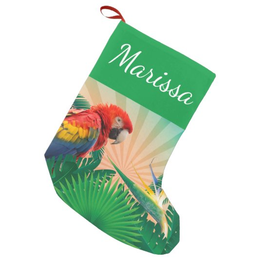 Personalized Festive Christmas Parrot Small Christmas Stocking