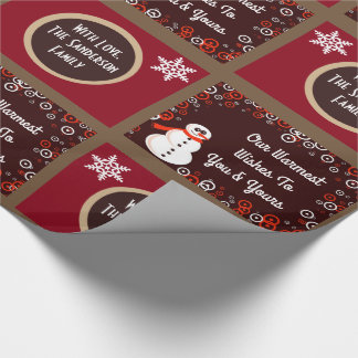 Personalized Festive Snowmen Wrapping Paper