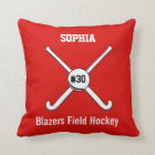 Personalized Field Hockey Team Name Jersey Number Throw Pillow