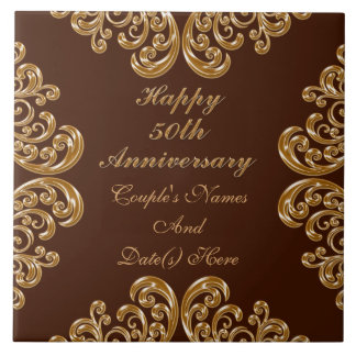 Personalized Fiftieth Anniversary Gifts for Family Ceramic Tile