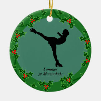 Personalized figure skater dancing on ice ceramic ornament