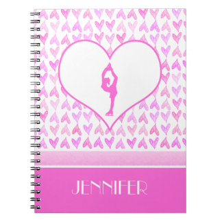 Personalized Figure Skater Pink Watercolor Hearts Notebooks