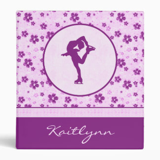 Personalized Figure Skater Purple Heart Floral 3 Ring Binder