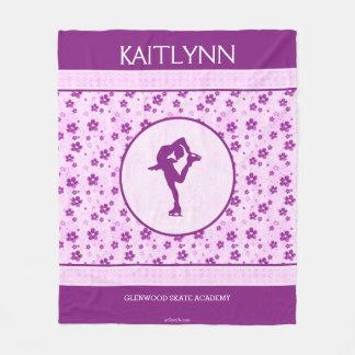 Personalized Figure Skater Purple Heart Floral Fleece Blanket