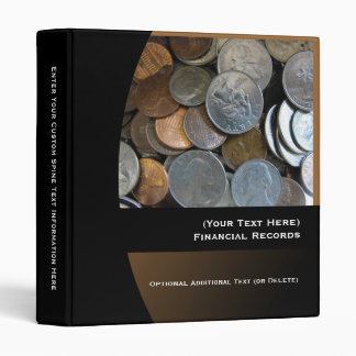 Personalized Financial Records Binder, USD Coins 3 Ring Binders