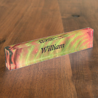 Personalized Fire Leaf Nameplate