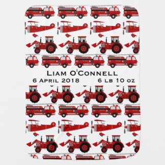 Personalized Fire Truck, Tractor, Plane Birth Date Baby Blanket