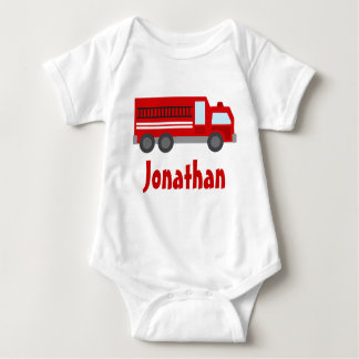 Personalized Firefighter Fire Truck Baby T-shirt