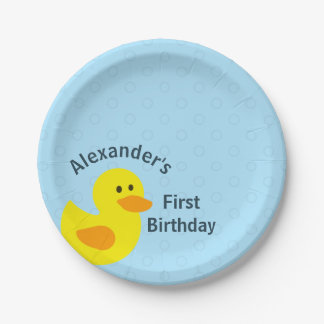Personalized First Birthday Little Yellow Ducky Paper Plate