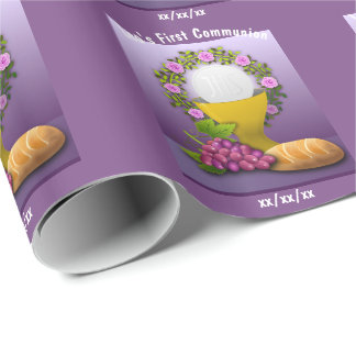 Personalized First Communion Holy Eucharist Gift Wrapping Paper