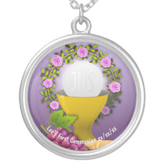 Personalized First Communion Holy Eucharist Photo Silver Plated Necklace