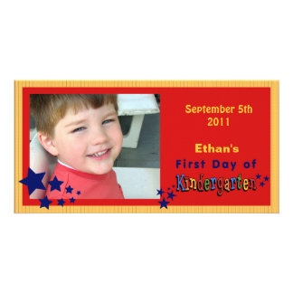 Personalized First Day of Kindergarten Custom Photo Greeting Card