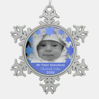 Personalized First Hanukkah Snowflake Pewter Christmas Ornament