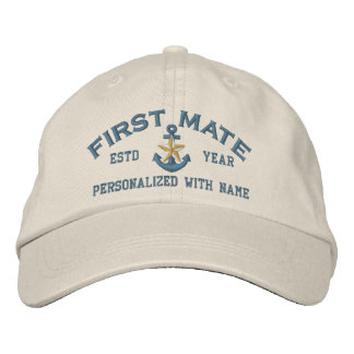 Personalized First Mate Coastal Star Anchor Embroidered Hat