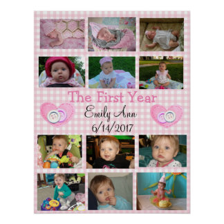 Personalized First Year Collage Baby Photo Poster