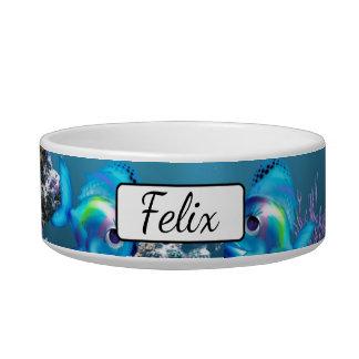 Personalized Fish Aquarium Blue  Cat Bowl