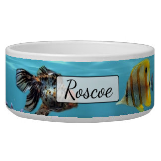 Personalized Fish Aquarium Blue  Dog Bowl