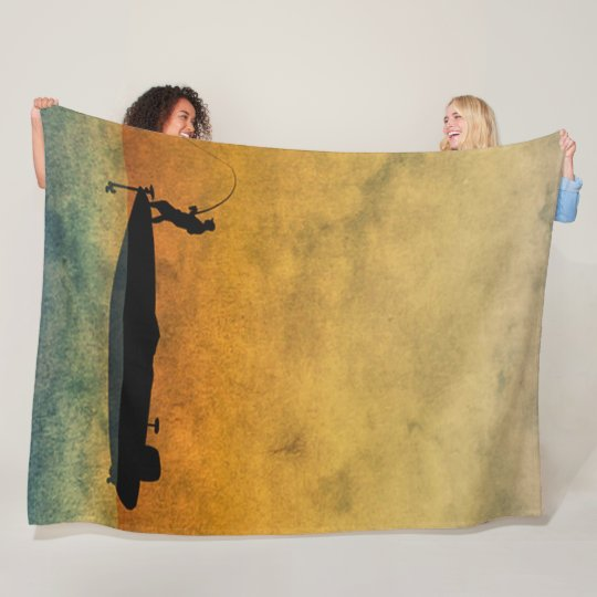 Personalized Fisherman Custom Satin Background Fleece Blanket