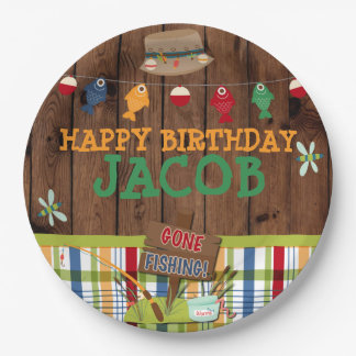 Personalized Fishing Birthday Party Paper Plate