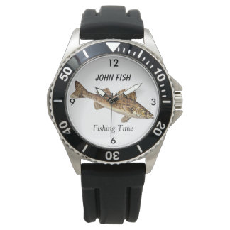 """Personalized """"Fishing Time"""" With Walleye Pike Wrist Watches"""
