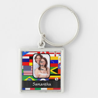 Personalized flags of the world Silver-Colored square keychain