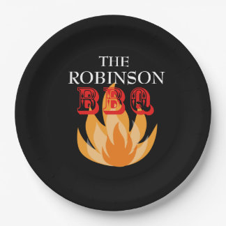 Personalized flames BBQ  Paper Plates 9 Inch Paper Plate
