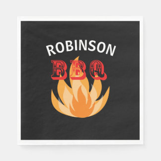 Personalized flames BBQ Paper Plates Paper Napkins