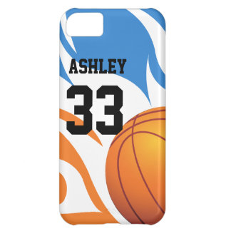 Personalized Flaming Basketball Blue and Orange iPhone 5C Covers