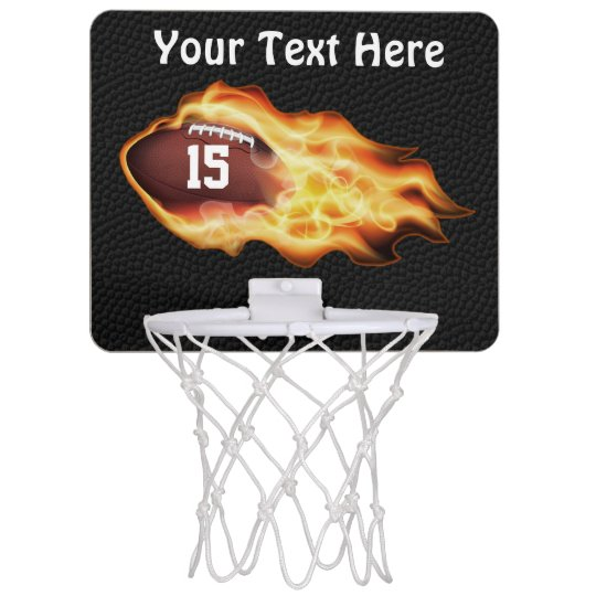 Personalized Flaming Football Mini Basketball Hoop