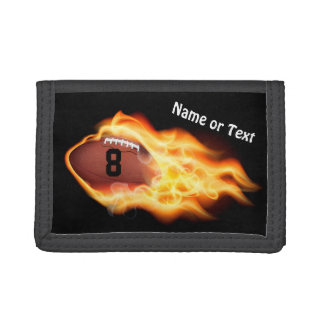 Personalized Flaming Football Wallets for Men, Boy
