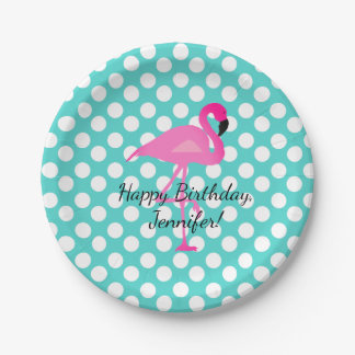 Personalized Flamingo and Polka Dots Paper Plate