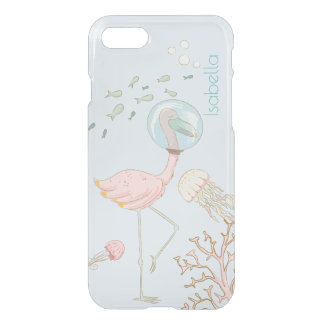 Personalized Flamingo Mermaid Clear iPhone case