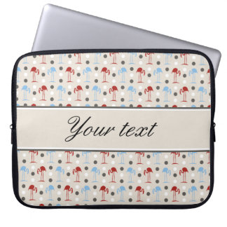 Personalized Flamingos and Polka Dots Pattern Laptop Sleeve