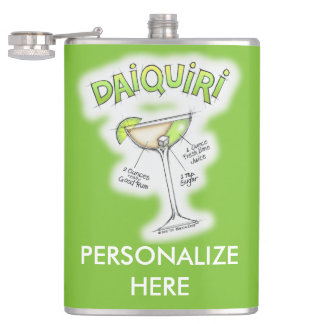 PERSONALIZED FLASK - DAIQUIRI RECIPE COCKTAIL ART