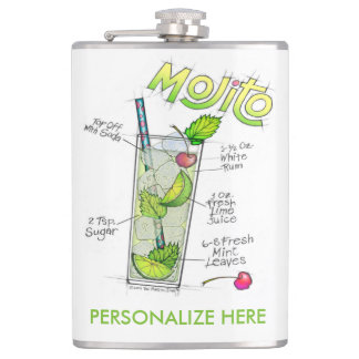 PERSONALIZED FLASK - MOJITO RECIPE COCKTAIL ART