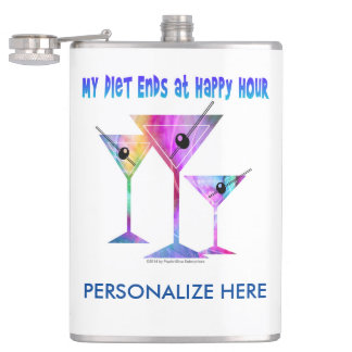 PERSONALIZED FLASK - MY DIET ENDS AT HAPPY HOUR