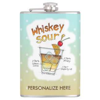 PERSONALIZED FLASK, WHISKEY SOUR RECIPE ART FLASK