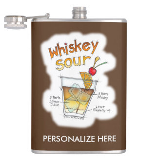 PERSONALIZED FLASK, WHISKEY SOUR RECIPE COCKTAIL FLASK