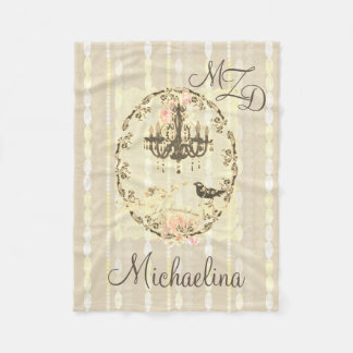 Personalized Fleece Blanket Le Chandelier Pearls