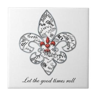 Personalized Fleur de Lis Heartfelt Expressions Tile