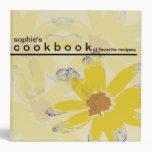 Personalized Floral Art Recipe Cookbook Binders