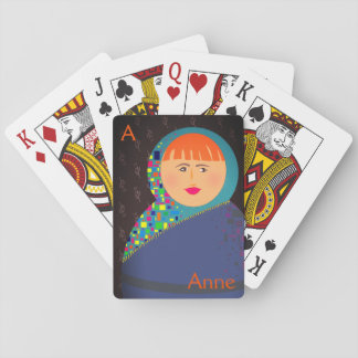 Personalized Floral Black Colorful Bold Anne Name Playing Cards