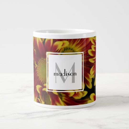 Personalized floral, bold mums, add name/initial large coffee mug