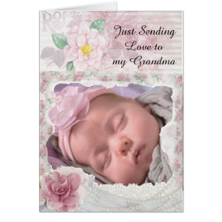 Personalized  Floral Card for Grandma from Baby
