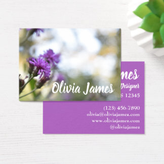 Personalized Floral Design Purple Flowers Nature Business Card