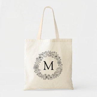 Personalized   Floral Doodles Coloring Tote Bag