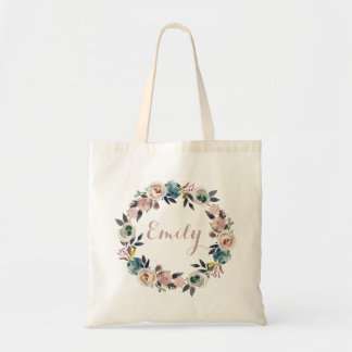 Personalized Floral Dusk Blue Rose Tote Bag